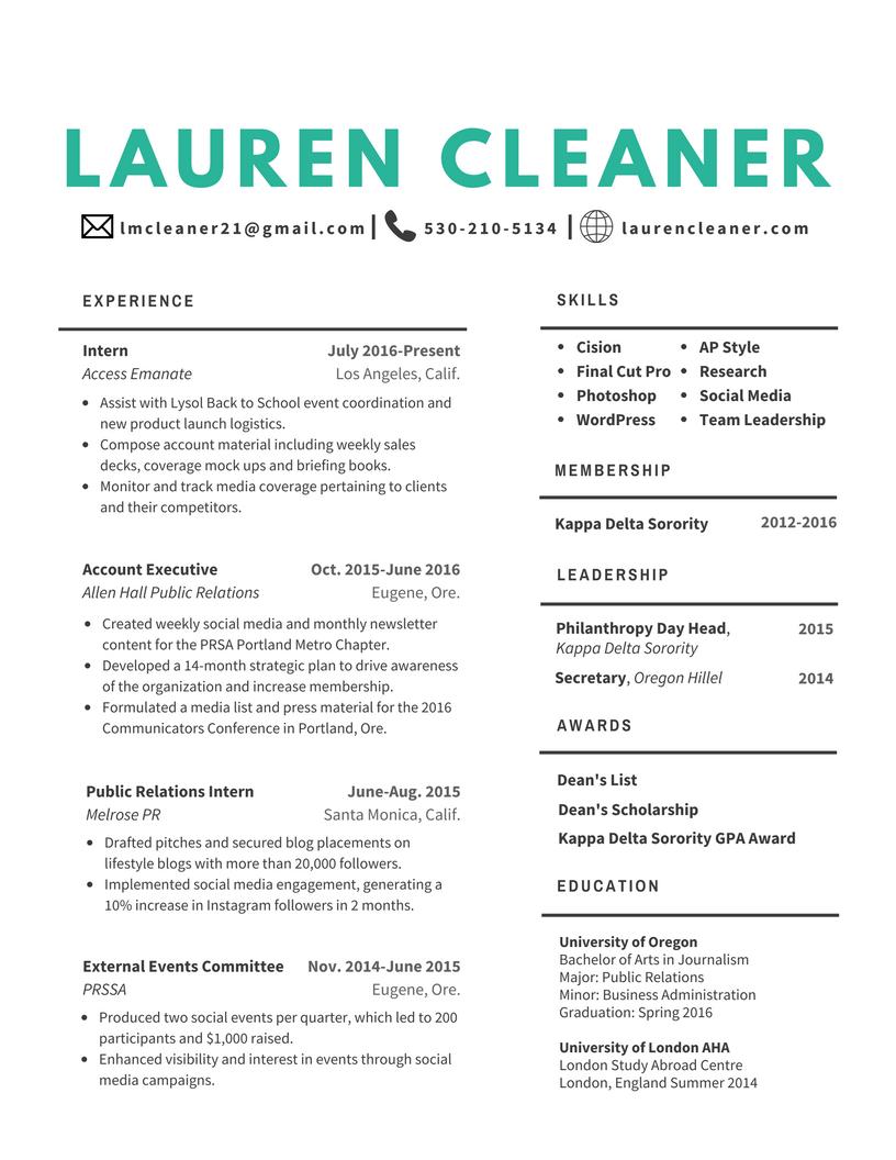 Resume Lauren Cleaner
